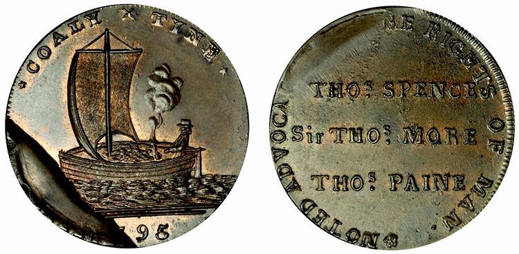 Skidmore, Copper Halfpenny Mule, c1795 (D&H Northumberland 19)