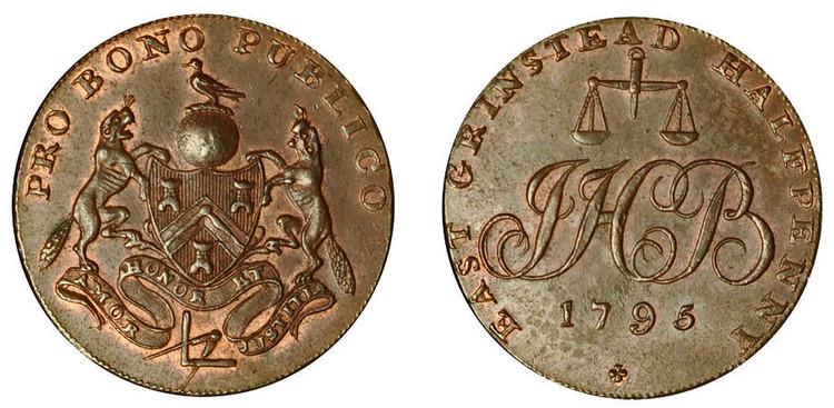 John Boorman, Copper Halfpenny, 1795 (D&H Sussex 22)