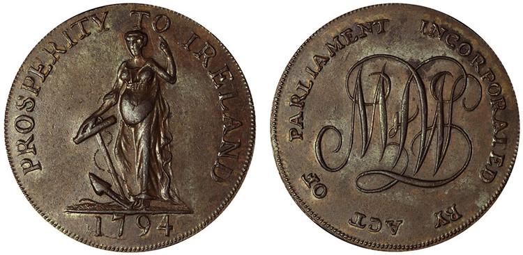 Uncertain Issuer, Copper Halfpenny, 1794 (D&H Dublin 346)