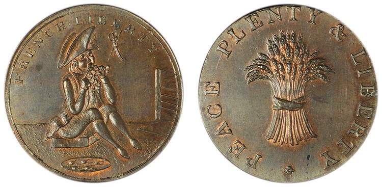 Skidmore & Son, French Liberty, Copper Halfpenny Mule (D&H Cambridgeshire 21)