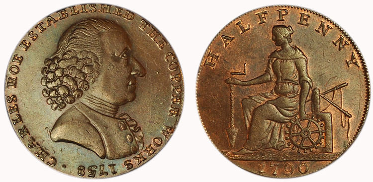William Lutwyche, Imitation Roe & Company Halfpenny, c1795 (D&H Cheshire 61a)