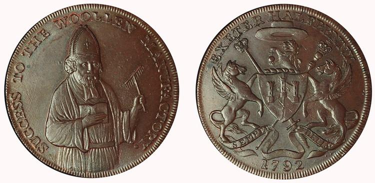 Samuel Kingdon, Commercial Halfpenny, 1792 (D&H Devonshire 2)