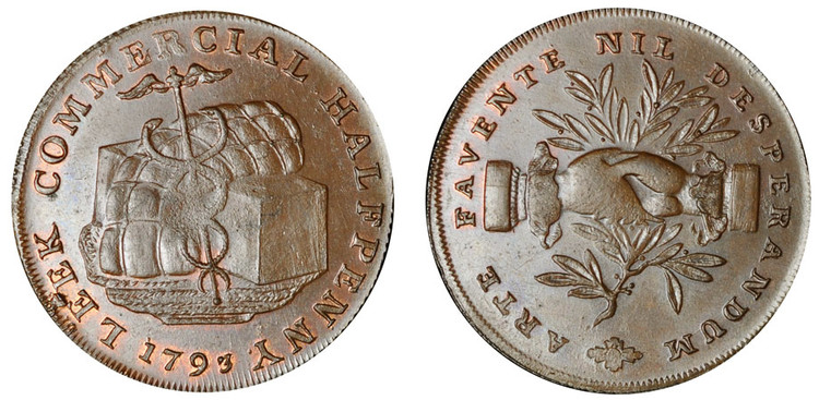 Leek Commercial Halfpenny, 1793 (D&H Staffordshire 13a)
