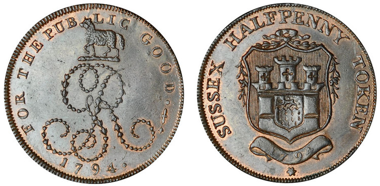 George Ring, Commercial Halfpenny, 1794 (D&H Sussex 23)