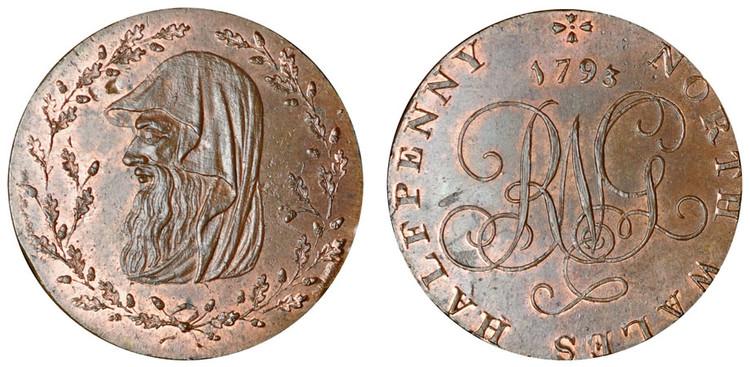 North Wales Halfpenny, 1793 (D&H North Wales 2c)