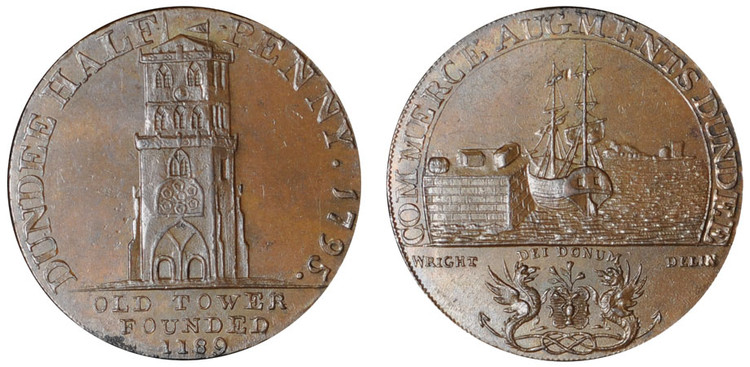Alexander Molison, Commercial Halfpenny, 1795 (D&H Angusshire 10)