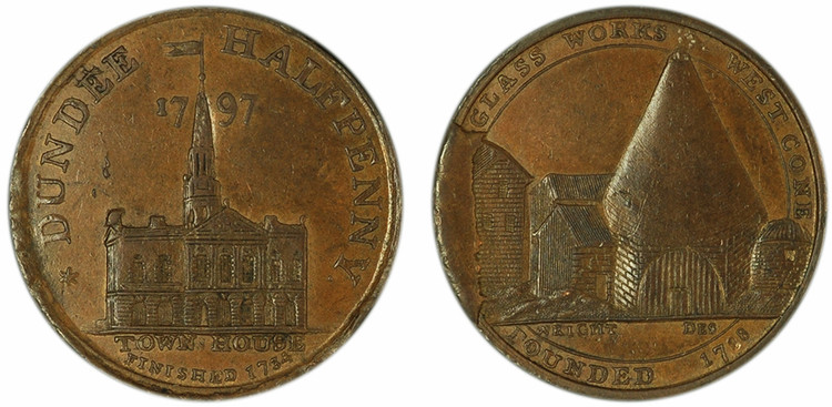 John Pilmer, Commercial Halfpenny, Mid-State, 1797 (D&H Angusshire 17)