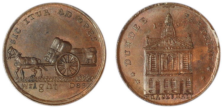 James Wright, Copper Farthing, 1796 (D&H Angusshire 42)