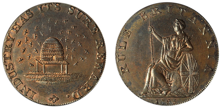 Peter Kempson, Halfpenny Mule, 1795 (D&H Cambridgeshire 14b)