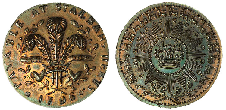 Matthew Denton, St. Albans Copper Halfpenny, 1796 (D&H Hertfordshire 2)