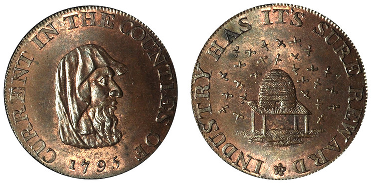 Peter Kempson, Copper Farthing, 1795 (D&H Cambridgeshire 36)