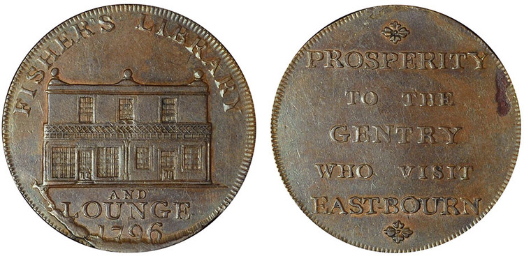 Frederick Fisher, Eastbourne Copper Halfpenny, 1796 (D&H Sussex 21)