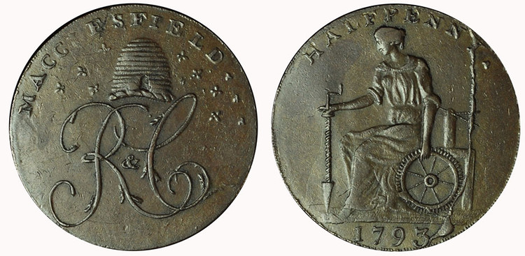 William Lutwyche, Imitation Macclesfield Copper Halfpenny, 1793 (D&H Cheshire 73) Terminal state of the reverse die.