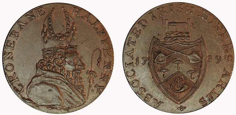 Counterfeit Cronebane Halfpenny, 1789 (D&H Wicklow 51c)