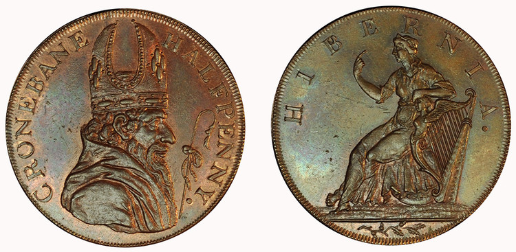 Counterfeit Cronebane Halfpenny Mule (D&H Wicklow 68)