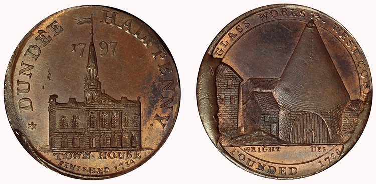 John Pilmer, Commercial Halfpenny, Late State, 1797 (D&H Angusshire 17)