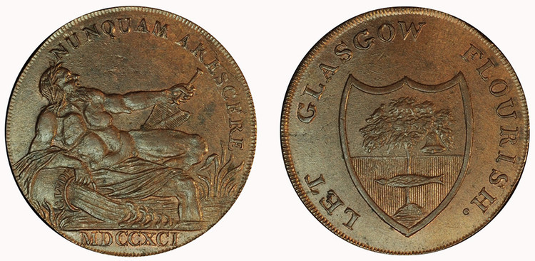 Imitation Halfpenny of Gilbert Shearer & Co., 1791 (D&H Lanarkshire 3)