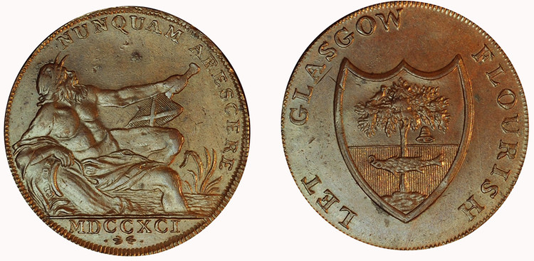 Imitation Halfpenny of Gilbert Shearer & Co, 1791 (D&H Lanarkshire 5)