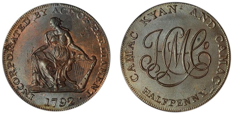 Imitation Camac Kyan and Camac, Copper Halfpenny, c1792 (D&H Dublin 91)