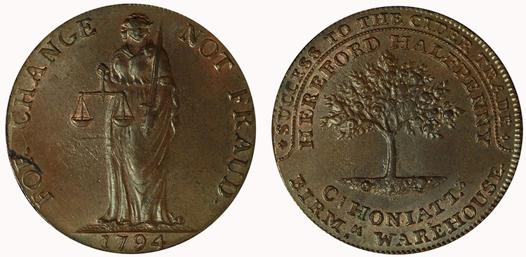Charles Honiatt, Copper Halfpenny, 1794 (D&H Herefordshire 5a)
