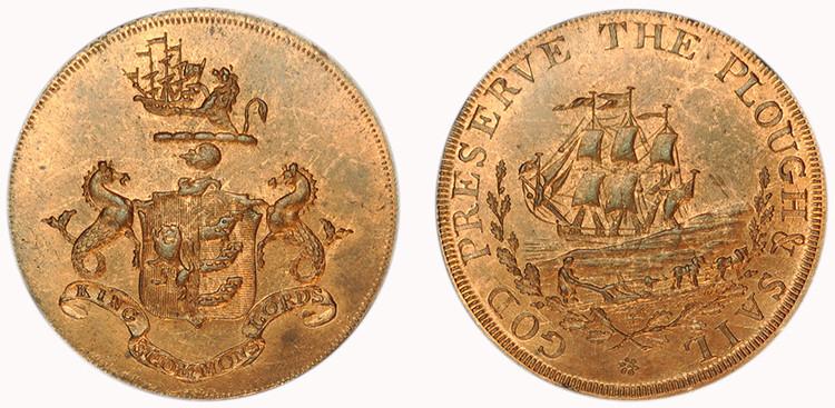 Robert Manning, Copper Halfpenny  (D&H Suffolk 34)