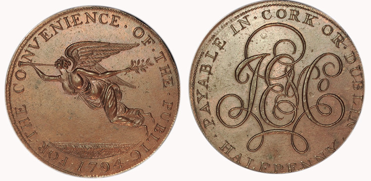 J E & Co., Copper Halfpenny, 1794  (D&H Cork 1)
