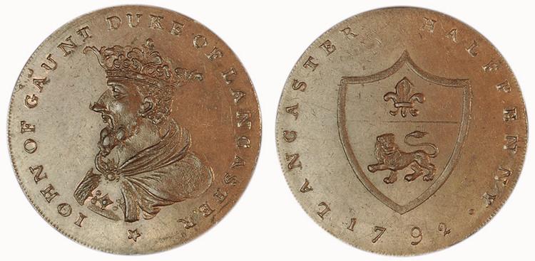 William Lutwyche, Counterfeit Worswick Halfpenny (D&H Lancashire 29c)