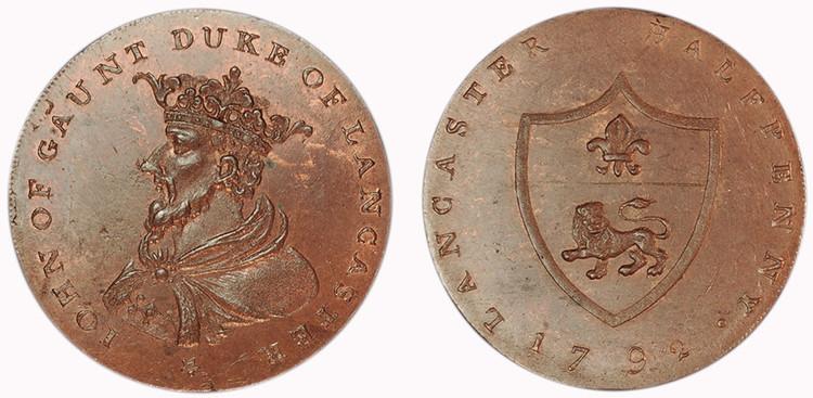 William Lutwyche, Counterfeit Worswick Halfpenny (D&H Lancashire 29e)
