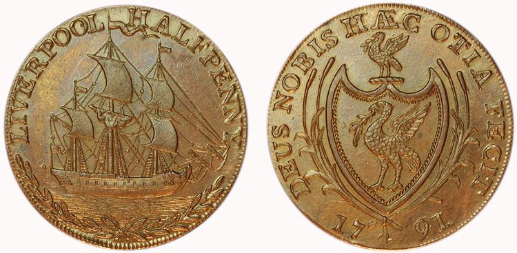 Thomas Clarke, Copper Halfpenny, 1791 (D&H Lancashire 71)
