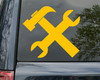 Crossed Hammer and Wrench Vinyl Decal - Tools Mechanic - Die Cut Sticker
