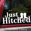 """Just Hitched 10"""" x 4"""" Vinyl Sticker - Honeymoon Wedding Marriage Country Cowboy Boots"""