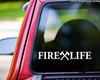 "FIRE LIFE 11.5"" x 2"" Vinyl Decal Sticker - Crossed Axes - Firefighter V1 FD Fire Department"