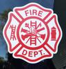 "FIRE DEPARTMENT Die Cut Vinyl Sticker 5"" x 5"" Maltese Cross Firefighter FD Red/White"