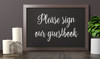 """PLEASE SIGN OUR GUESTBOOK 10"""" x 6.5"""" Vinyl Decal Sticker - V2 - Wedding"""