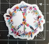 "PEACE SIGN of FLOWERS 4.5"" Die Cut Sticker - Floral Gypsy Hippie Decal"