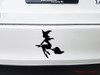 Witch on Broomstick Vinyl Decal Sticker - V2- Flying Halloween Witchcraft