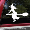 Witch on Broomstick Vinyl Decal Sticker -V4- Flying Halloween Witchcraft