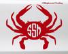 Crab Monogram Vinyl Sticker - Name Initials Personalized - Die Cut Decal