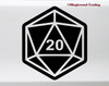 D20 Roll Dice Vinyl Sticker - Role Playing Game Crit RPG 20-sided - Die Cut Decal