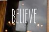 Believe Vinyl Sticker - Santa Claus Christmas Decor Farmhouse Skinny Font Rae Dunn Inspired - Home Die Cut Decal