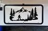 Bigfoot Mountain Trees Scene Vinyl Decal V3 - Camper RV Travel Trailer Graphics 4x4 - Die Cut Sticker