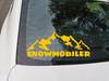 Snowmobiler Vinyl Decal - Snow Sled Mountains - Die Cut Sticker