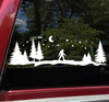Bigfoot Moon Trees Scene Vinyl Decal V2 - Forest PNW Camper RV Travel Trailer Graphics - Die Cut Sticker