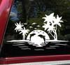 Beach Dolphins Palm Trees Scene Vinyl Decal - Ocean Camper RV Travel Trailer Graphics - Die Cut Sticker