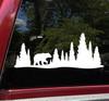 Bear in Treeline V4 Vinyl Decal - RV Graphics Motorhome Pine Trees Forest  - Die Cut Sticker