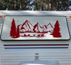 Bear Family Mountains Scenery Vinyl Decal V4 - RV Graphics Camper - Die Cut Sticker