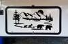 Bear Family Moon Scene Vinyl Decal V4 - Mountain Forest RV Graphics - Die Cut Sticker