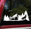 Wolf Howling Forest Scene Vinyl Decal V4 - Mountains RV Graphics Camping - Die Cut Sticker