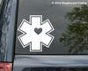 "EMS Heart Star of Life Wife Vinyl Decal Sticker 4"" x 4"" EMT First Responder"