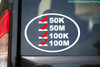 "Ultra Runner's List vinyl decal sticker 6.5"" x 4.5"" 50K 50M 100K 100M - White w/Red Checkmarks"